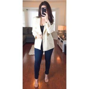 Lauren Ralph Lauren Petite 100% Silk Cream Blazer